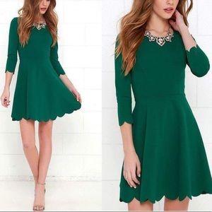 Lulus S cumulonimbus green scallop skater dress